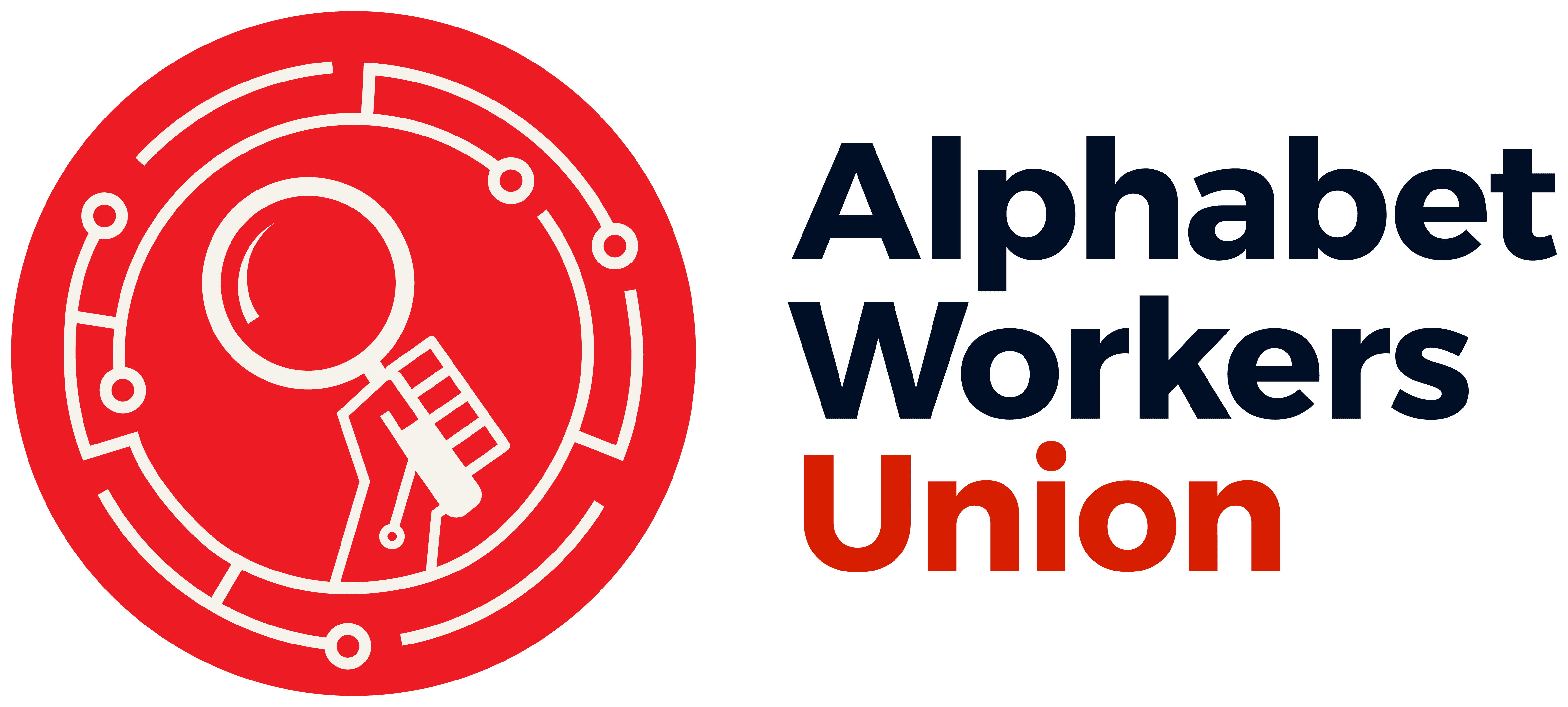 A red circle with a hand holding a stylized magnifying class (the search icon).  On the right, the words Alphabet Workers Union.
