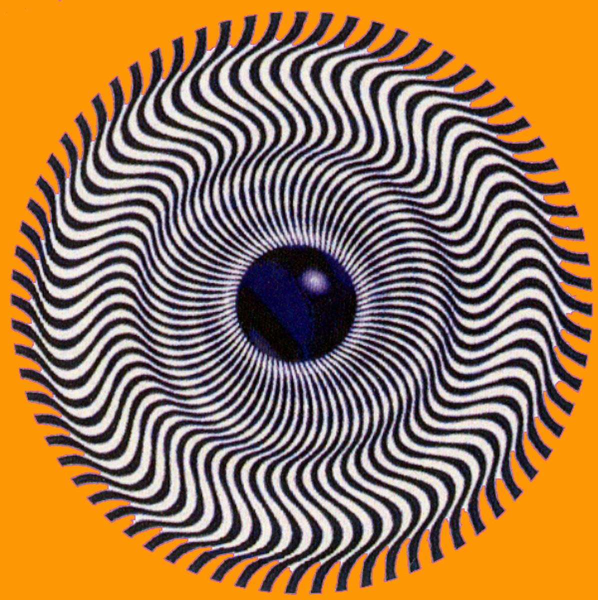 An optical illusion, looking somewhat like an eye, where curved lines radiating out from a center black dot appear to be moving