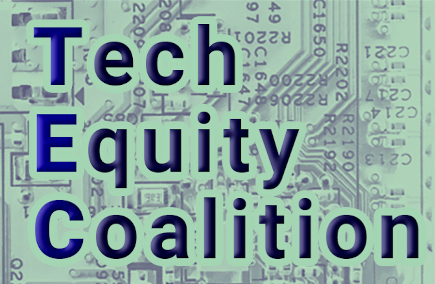 Tech Equity Coalition.  In the background, a light green circuit board.
