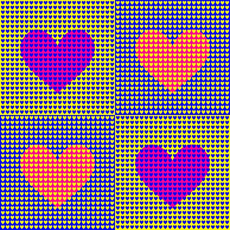 Four squares, each with a grid of hundreds of small hearts in the background and a large heart in the center.  The top left and bottom right squares have yellow backgrounds and small blue hearts; the larger heart int he center looks pink.  The top right and bottom left squares have blue backgrounds and small yellow hearts; the larger heart looks orange.