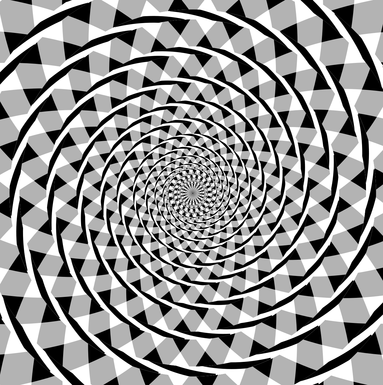 Arcs giving the appearance of a spiral, but in reality concentric circles on a black, white, and gray background.