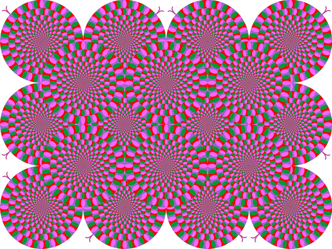 Overlapping disks with a geometric pattern in green, pink, and red