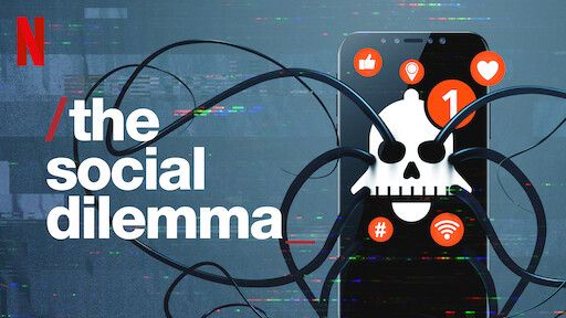 The social dilemma promo image, with the Netflix logo in the top left, and a phone with an image of a skull on it and several red notification bubbles on the right